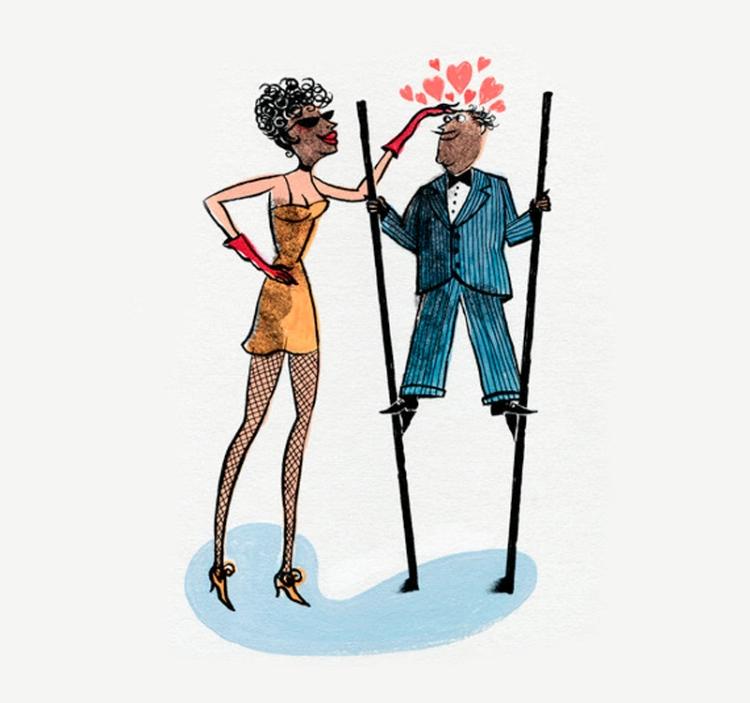 Tall Woman Romancing Short Man on Stilts