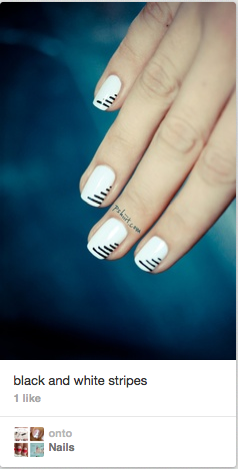 9c513f208f I love this nail look. I can totally see me recreating this on my own  nails. Very simple and minimalist but striking and eye catching.